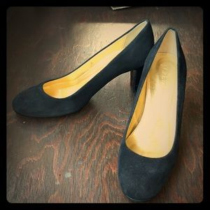 J. Crew Black Suede Closed Rounded Toe Heels